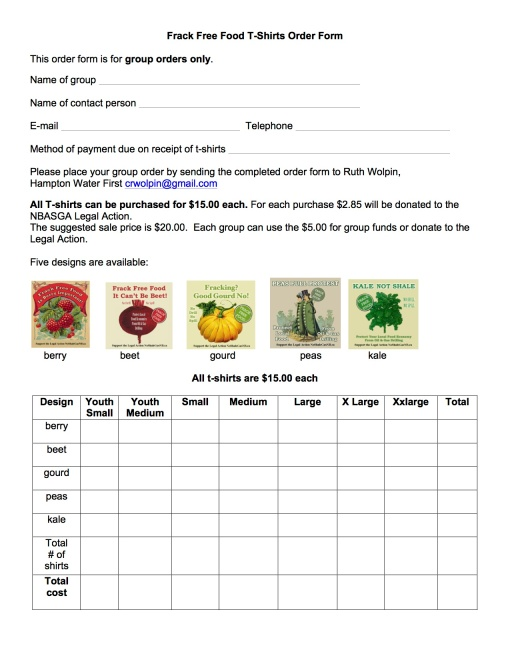 Frack Free Food T-Shirts Order Form